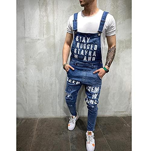 ShSnnwrl Straight Vaqueros para Hombre Impresión del Alfabeto De La Moda De Los HombresConexión DeJeans RasgadosVerano Casual Hig