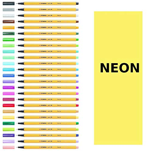 Stabilo Point 88 Neon Fineliner – dünne Stifte (Orange, Gelb)