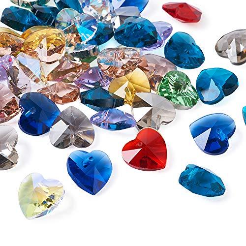 Beadthoven - 50 abalorios de cristal facetado con forma de corazón, 14 x 14 x 8 mm, colorido cristal amor corazón colgante colgantes románticas ideas para el día de San Valentín para joyería