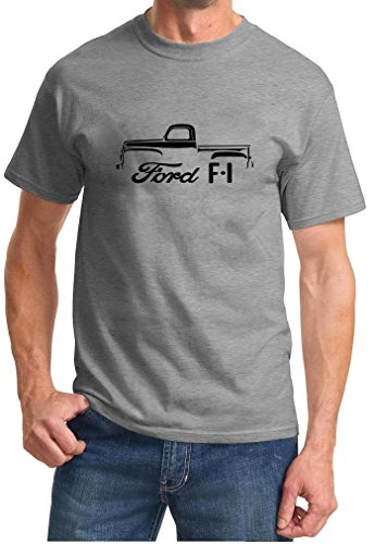 1948-51 Ford F-1 F1 Pickup Truck Classic Outline Design Tshirt 2XL Grey
