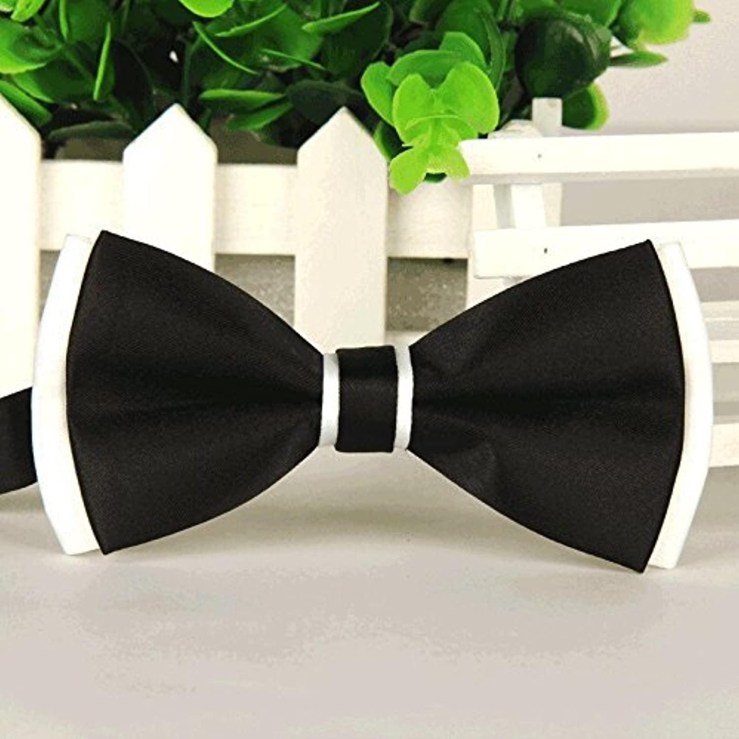 Asian Cookie  Handmade Dog cat Bow Tie for Medium & Large Pets (Free Attached Soft Fabric Collar) Double Layer Butterfly Design (Black)