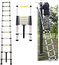 3.2M Aluminium Telescopic Ladder Extension Folding Ladders Portable 10.5FT with EN 131, Max. Load 330lbs/150kg, Lightweight Easy to Carry