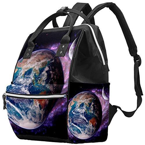 LORVIES Earth Galaxy Moon - Bolso cambiador de pañales con bolsillos aislados, correas para cochecito, gran capacidad, multifuncional, elegante bolsa de pañales para mamá, papá al aire libre