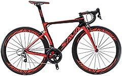 SAVADECK Phantom 2.0 700C Bicicleta de Carretera de Fibra de Carbono Shimano Ultegra R8000 22-Velocidad Sistema Michelin 25C Neumáticos Fi'zi: k Cojín (48cm, Negro Rojo)