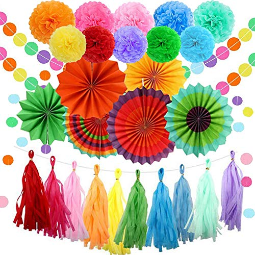 JUN ZE XIN Party Decorations Paper Fans Flower Pom Pom Tassels Circle Garland Party Favors Colorful Paper Decorations for Birthday Wedding Holiday Paper Decorations for Wall Backdrop
