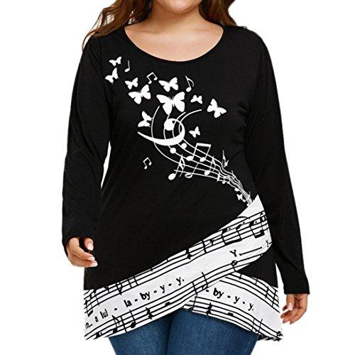 VJGOAL Damen Bluse, Groß Größe Frauen Schmetterling Musiknote Print T-Shirt Langarm Frühling Sommer Tops (XXL, Schwarz)