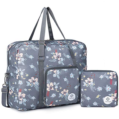 Packable Travel Duffel Bag Holdall Tote Carry on Luggage Weekender Overnight Sport Duffle for Kids Girls Women (Dark Flower)