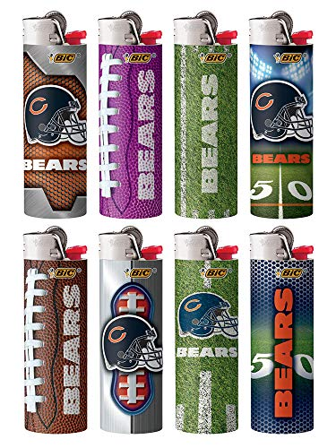 BIC Lighters Compatible with Chicago Bears NFL Officially Licensed Full Size 8pc Set