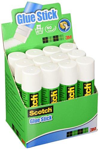 Scotch Pegamento de Barra - 1 Caja con 12 Barras de Pegamento de 40g - Para Uso Adhesivo para el Colegio, el Hogar y la Oficina - Sin Disolvente, Lavable