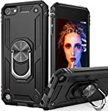 iPod Touch 7 Case, iPod Touch 6 Case with Car Mount,IDweel Hybrid Rugged Shockproof Protective Cover with Built-in Kickstand for iPod Touch 5 6 7th Generation, Black
