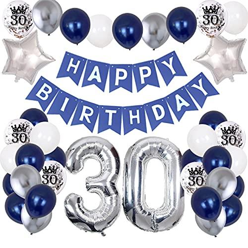 30. Geburtstag Dekoration Mann, Marineblau Silber Geburtstagsdeko Party Luftballon Happy Birthday Deko Banner mit Bedruckte Silber Konfetti Luftballons Folienballon Zahl 30. Luftballons Party Deko