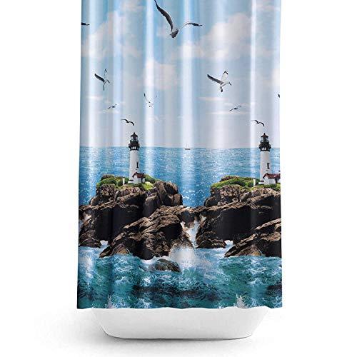 180 x 200 cm Duschvorhang blau Leuchtturm Stoff Original aus hochwertigem Polyester, schönes & modernes Design. Wasserdicht, schimmelresistent, maschinenwaschbar. Haken 9298