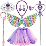 3 otters Princess Dress Up Accessories, 8PCS Princess Costume Sets with Wings Tutu Wand Crown Necklace Ring, Princess Hairpiece Fairy Accessories for Girl Dress Up