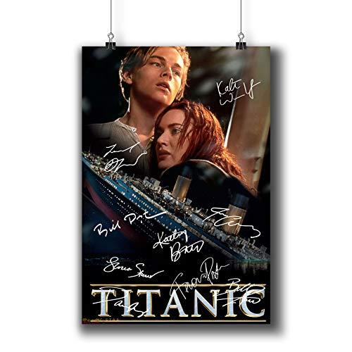 Pentagonwork Titanic Filmposter mit Autogramm, A4, 21 x 29 cm, mit Aufklebern von 1997, Leonardo DiCaprio Kate Winslet signiert, 001-002