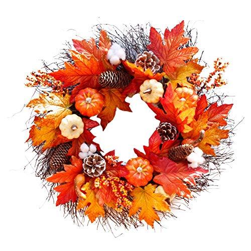 Corona de puerta Tema navideño Corona artificial con espigas de trigo Papel de espuma Flores y ramas para otoño Halloween Día de acción de gracias Puerta de entrada Colgante de pared Decoración d