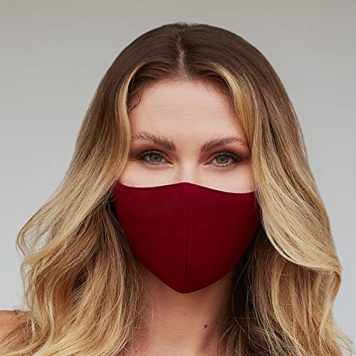 Washable Face Mask with Adjustable Ear Loops & Nose Wire - 3 Layers, 100% Cotton Inner Layer - Cloth Reusable Face Protection with Filter Pocket - Made in USA - (Solid Burgundy)
