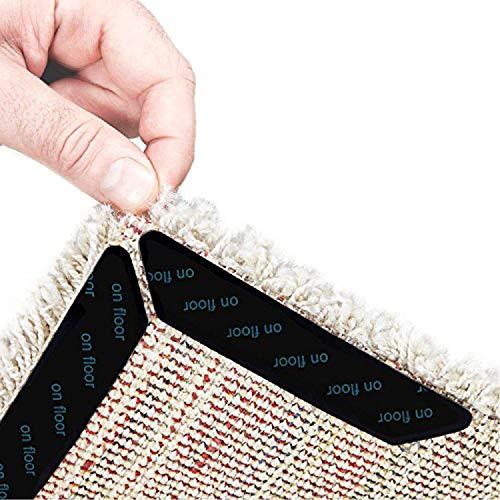 Amtake Antirutschmatte für Teppich. 8 Stück Teppich Aufkleber Waschbar und Wiederverwendbar, Teppich Ecke rutschfest Teppichstopper Starke Klebrigkeit und Leicht zu Entfernen [Schwarz]