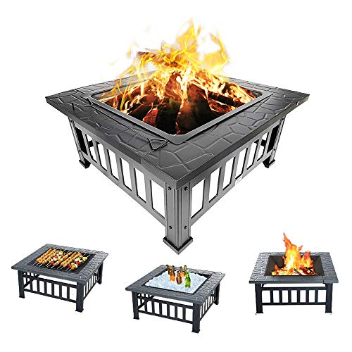 Outdoor Fire Pit 32'' Metal Firepit Table Metal Square Firepit Patio Stove Wood Burning BBQ Grill Fire Pit Bowl with Spark Screen Cover Log Grate Poker for Backyard Garden Camping Picnic Bonfire