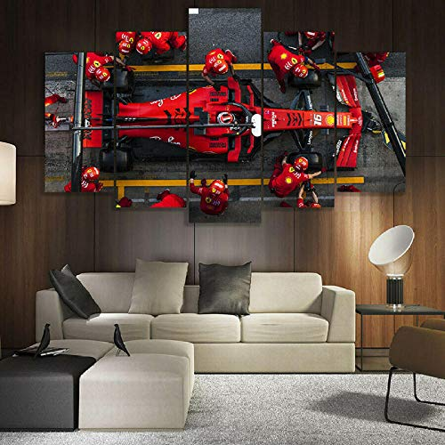 Póster de 5 piezas de lienzo F1 Ferrari Charles Leclerc Impresión HD para decoración del hogar Fotos de 5 paneles sin cuadros enmarcados, Sala de estar, tamaño A_No_frame