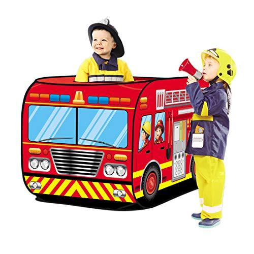 deAO Tente de Jeu pour Enfants Tente Jeux Conception Pop-Up Assemblage Rapide Activités Récréatives Intérieures et Extérieures Aire de Loisirs (Pompiers)