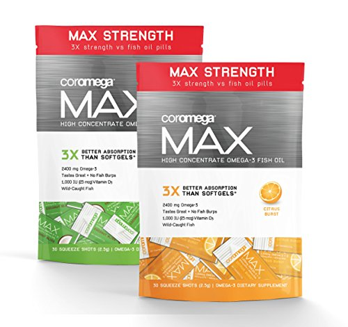 Coromega MAX 60 Count Fish Oil Variety Pack-Citrus Burst & Coconut Bliss