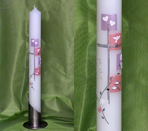 Kommunionkerze/Taufkerze für Mädchen,40 x 4 cm, inklusive Beschriftung und Aufbewahrungskarton ! P 77