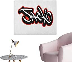 Anzhutwelve Jack Painting Post Graffiti Font Style Male Name Hip hop Design Urban Modern Typography The Office Poster Vermilion Black and White W48 xL32