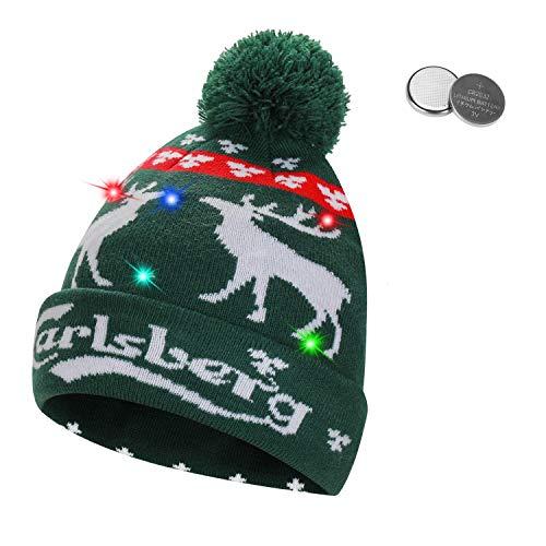 QKURT Gorro Unisex con luz LED, Colorido Gorro de Navidad de Navidad...