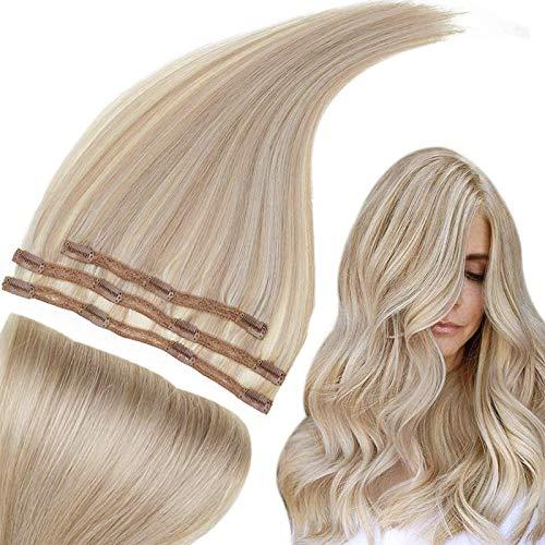 RUNATURE Clip Ins Extensions Cheveux 20 Pouces 50cm Couleur 18P60 Blond Cendré Foncé Mixte Blond Platine 3pcs Cheveux Raides Clip Sur Les Extensions 50g