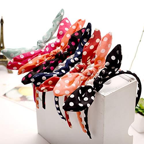 Dusenly 6 piezas de moda para mujer con nudo de lazo diadema de lunares diademas para el pelo de niñas dulce diadema accesorios