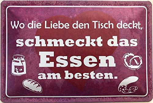 Deko7 Blechschild 30 x 20 cm Spruch: Wo die Liebe den Tisch deckt, schmeckt das Essen am besten