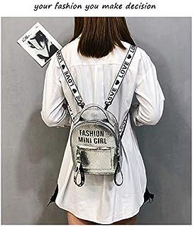 YKDY Bag PU Bag Mini Bag Women Shoulder Bag Fashion Backpack Alphabet Bag (Color : Silver)