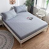GUANLIDE Baumwollbettwäsche,Spannbetttücher aus Baumwolle, Doppelbett aus flachem Laken, Tagesdecke aus Köper für MädchenschlafsaalschlafzimmerGrau gestreift_120 * 200 cm, Einteilige Matratze