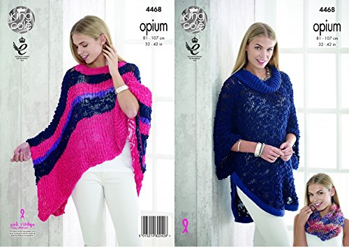 Koning Cole Dames Poncho, Cape & Snood Opium Breien Patroon 4468