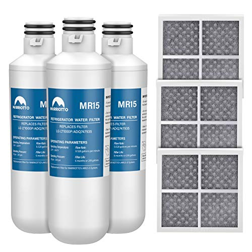 MARRIOTTO Water Filter LT1000PC Replacement for LG Refrigerator and LT120F ADQ73334008 Fresh Air Filter, Compatible with LG LT1000P, LT1000P/PC/PCS, LT-1000PC, MDJ64844601, ADQ747935 ADQ74793504