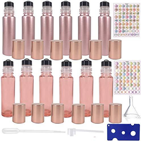 Lot de 12 flacons roll-on pour huiles essentielles, flacons en verre vides (6 or rose + 6 rose transparent) avec ouvre-étiquettes et pipette