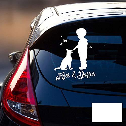 Autotattoo 1 Junge mit Hund Heckscheiben Aufkleber Namensaufkleber Kinder Schmetterlinge Namen Wunschnamen M2388 - ausgewählte Farbe: *weiß* ausgewählte Größe: *M - 25cm hoch x 20cm breit*
