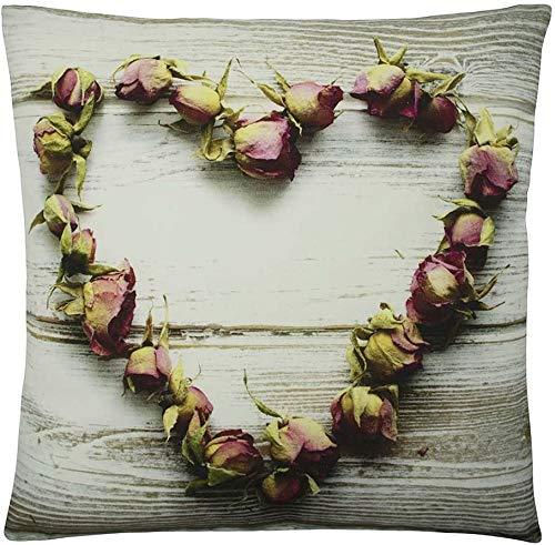 Mars & More Kanevas - Cuscino decorativo a forma di cuore con rose, lavabile con chiusura lampo, 50 x 50 cm