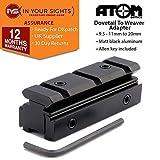 Atom Optics 9.5-11mm Cola de Milano a 20mm Riel de Tejedor Adaptador para Escopetas o Rifle Visores