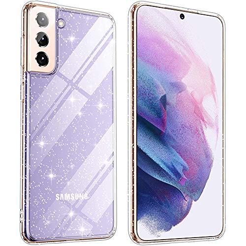 Beetop Kompatibel Mit Samsung Galaxy S21 5G Hülle Glitzer Schutzhülle Silikon TPU Handyhülle für Samsung Galaxy S21 - Durchsichtig
