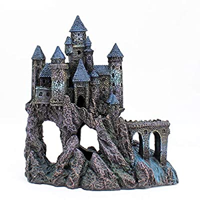 Penn-Plax Castle Aquarium Decoration Hand Painted with Realistic Details Over 14.5 Inches High Part A