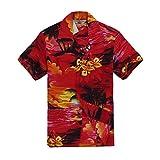 Chico Camisa Hawaiana de la Hawaiana en tamaño Rojo de la Puesta del Sol 14
