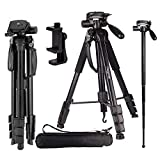 Video Camera Tripod Travel Monopod (70 Inch Aluminum professional Camera Mount Leg) Adjustable Tripod Stand with Flexible head for Canon Nikon DV DSLR Camcorder Gopro cam& Carry Bag & Cell Phone Mount canon camcorders May, 2021