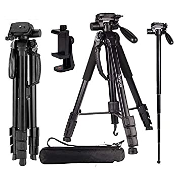 Regetek Camera Tripod Travel Monopod  70  Aluminum Professional Video Camera Mount Leg  Adjustable Stand with Flexible Head for Canon Nikon Dv DSLR Camcorder Gopro Cam& Carry Bag & Cellphone Mount