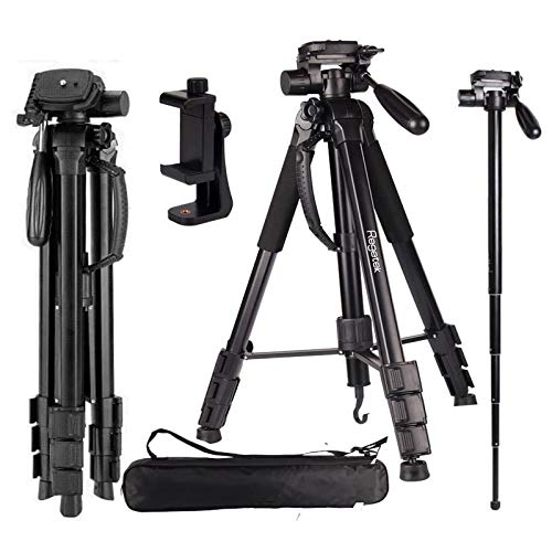 Regetek Camera Tripod Travel Monopod (70' Aluminum Professional Video Camera Mount Leg) Adjustable Stand with Flexible Head for Canon Nikon Dv DSLR Camcorder Gopro Cam& Carry Bag & Cellphone Mount
