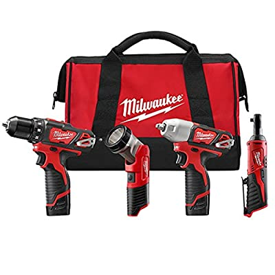 Milwaukee 2493-24 M12 3/8 Driver drill - 3/8 Impact - 1/4 Ratchet - Light with 2 Batteries