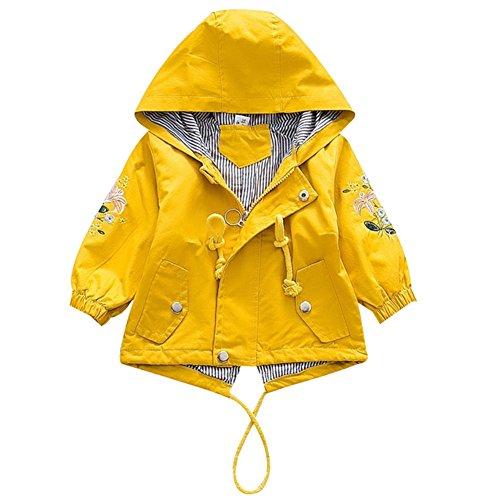 Baby Mädchen Jacke Übergangsjacke Kapuzenjacke Kinder Prinzessin Blume Frühling Herbst Outwear Oberbekleidung Gelb 90