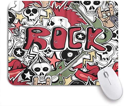 Dekoratives Gaming-Mauspad,Bunte Hand Crazy Punk Rock Abstrakte Schädel Stifte Gitarren Symbole Scheibe Sterne Lippen Biker,Bürocomputer-Mausmatte mit rutschfester Gummibasis