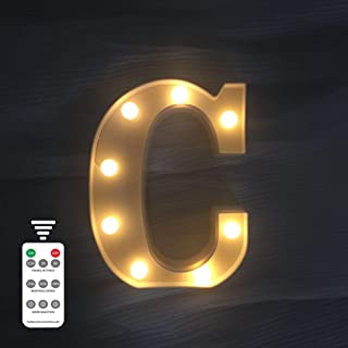 LED Marquee Letter Lights 9 Modes Alphabet Light Up Signs Remote Control Timer Dimmable for Christmas Wedding Birthday Party Home Bar BBQ Decoration (Letters C,Warm White)