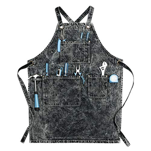 Jeanerlor - Washing Style Jean Apron for Men Denim Aprons with Towel Loop + Tool Pockets, Adjustable L to XXL(Black)